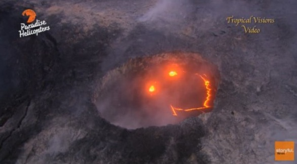 Hawaii volcano shows 'smiley face' during eruption (Viral video)