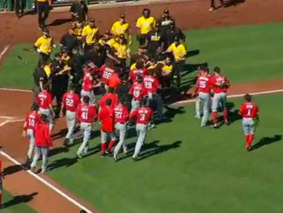 Nationals, Pirates brawl after Harper exit [Video]