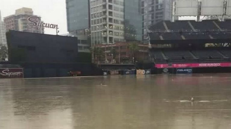 Petco Park flooded yesterday (Picture)