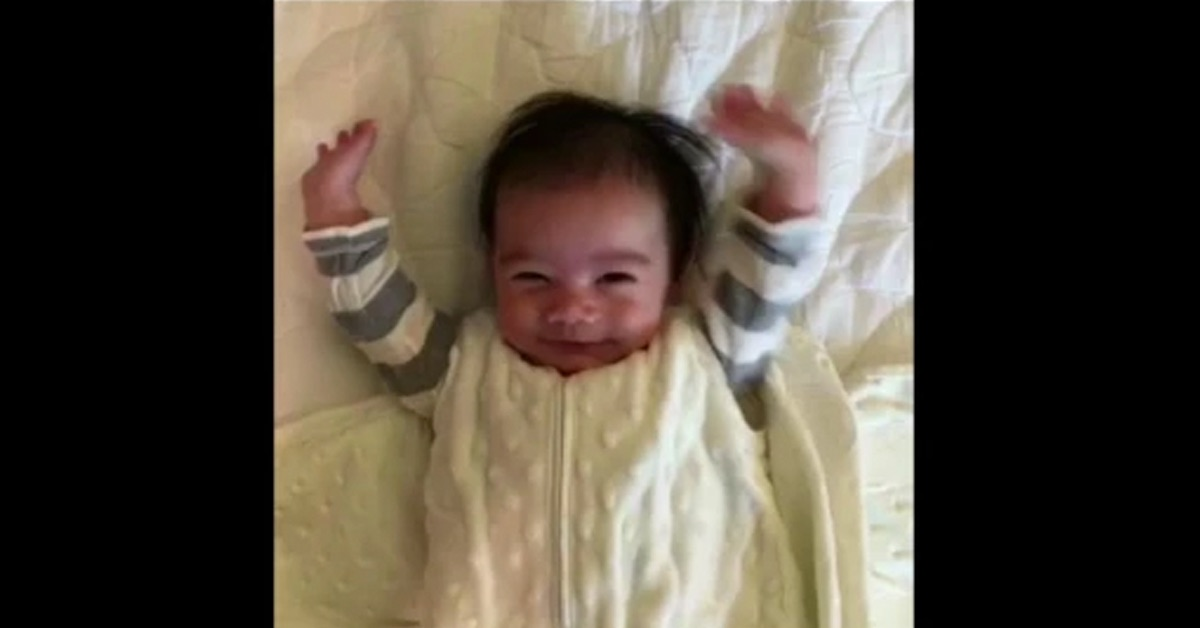 Boston Baby Kaden Loves to Be Unwrapped and Put His Hands Up (Video)
