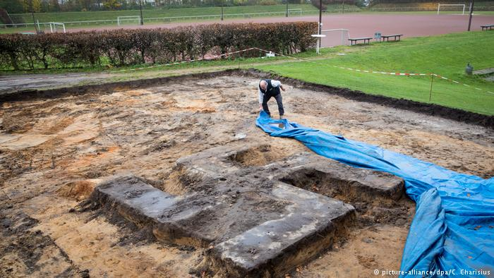 Giant swastika unearthed under football field in Germany