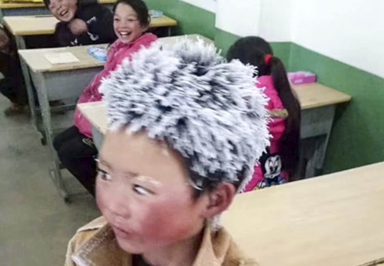 Boy's hair freezes on walk to school (Picture)
