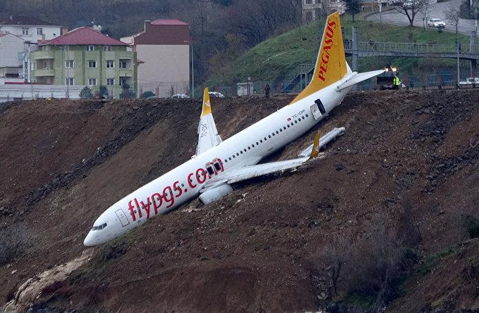 Plane skids off runway, gets stuck on cliff (Watch)