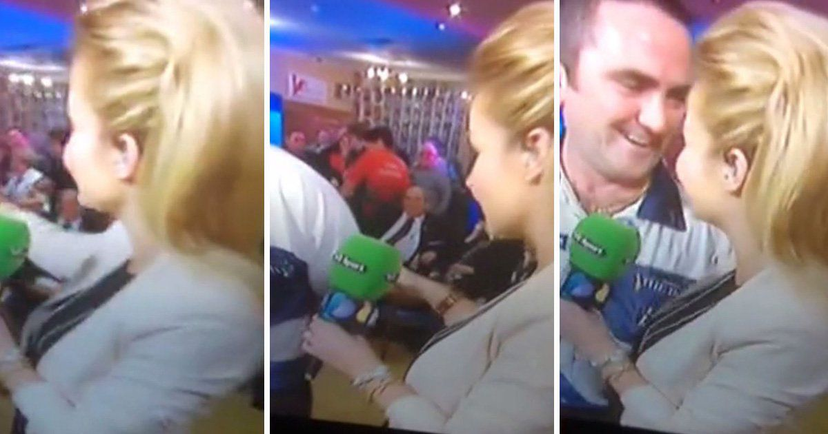Helen Skelton, Pregnant news anchor groped on live TV by man