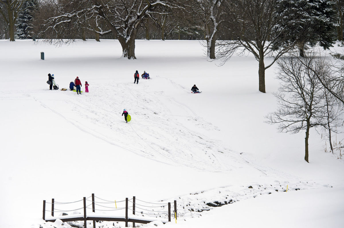 Easter Snow: hitting the sled hill following brunch