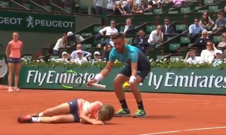Ball boy flattened by tennis star Damir Dzumhur (Video)