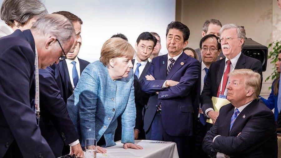 G7 summit trump viral photo sparks meme frenzy