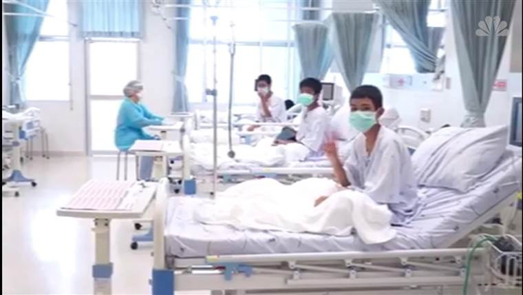 Thailand soccer team rescued from cave seen in hospital video (Watch)