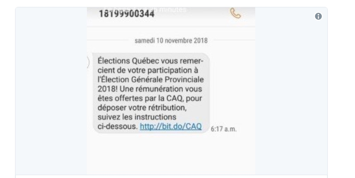 Fraudulent texts sent for supporting CAQ: possible phishing scam