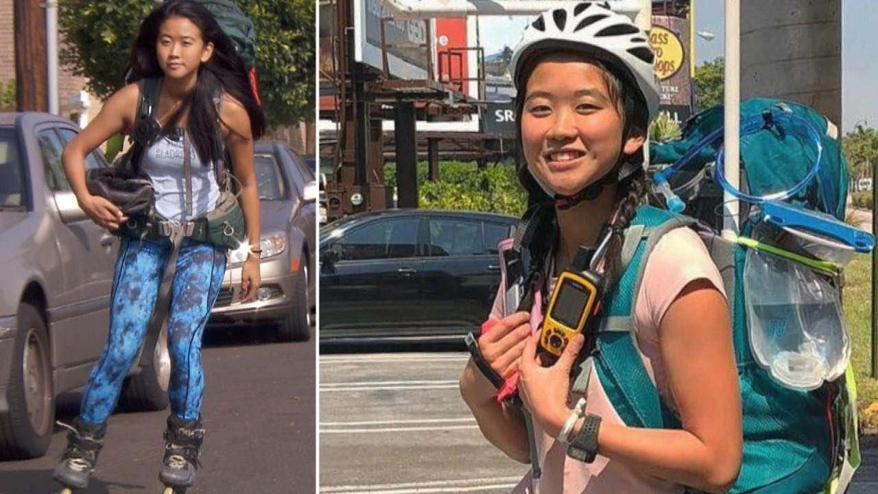 Yanise Ho completes journey Trip on Rollerblades