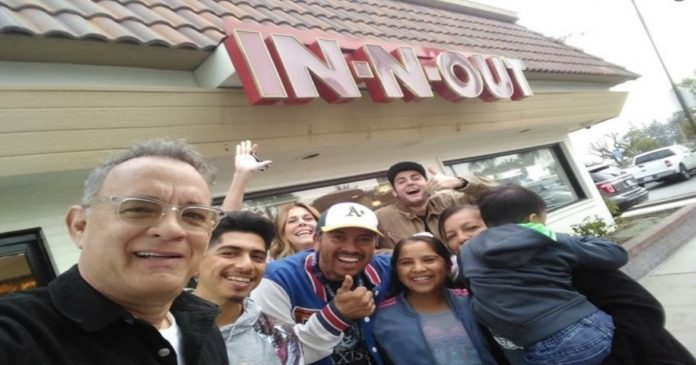 Actor Tom Hanks surprises fans at California In-N-Out
