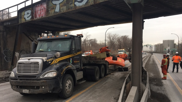 Truck in Montreal collides with railway bridge
