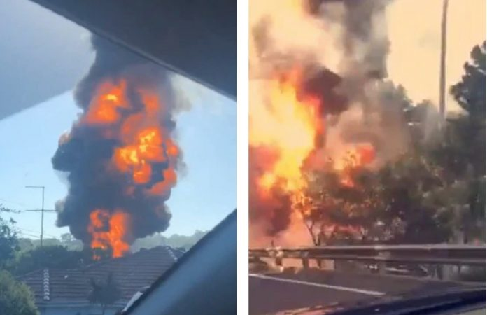 Fuel Tanker Explodes on highway south of Sydney (Watch)