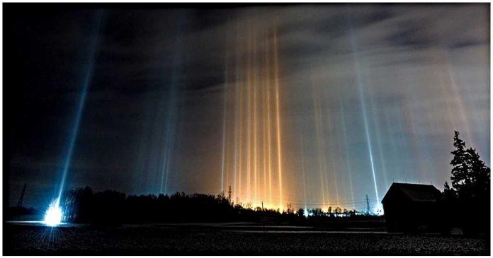 Light pillars in Alberta: Photographer captures rare natural phenomenon