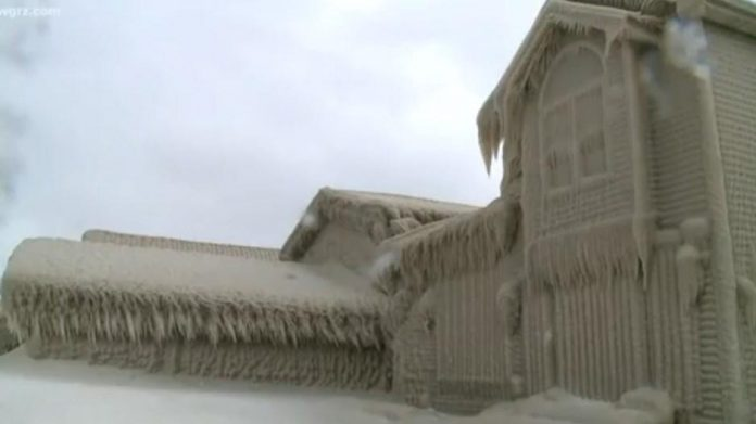 Lake Erie: Homes freeze due to cold temps (Picture)
