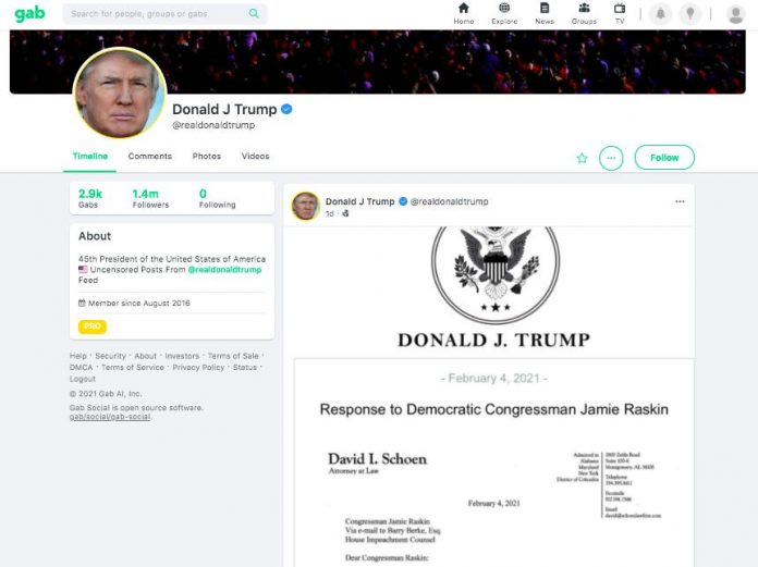 Donald Trump returns to social media with Gab post calling impeachment a