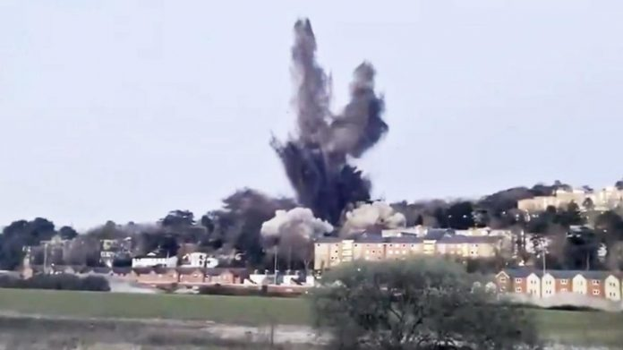 Explosion heard for miles after Second World War bomb detonated in Exeter (Video)