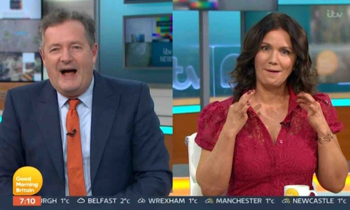 Susanna Reid shocks Piers Morgan by pulling her top open after he said she 'loves' the attention (Report)
