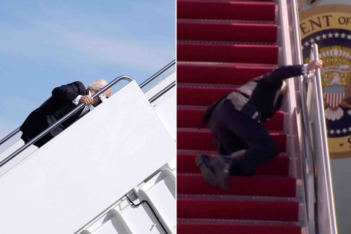 Joe Biden falls trying to go up stairs to Air Force One (Watch)