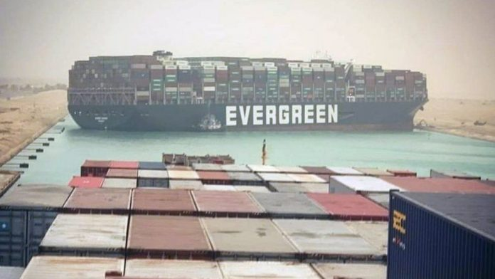 Suez Canal blocked after huge container ship runs aground (Picture)